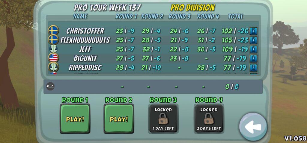 Disc Golf Valley Pro Tour game mode