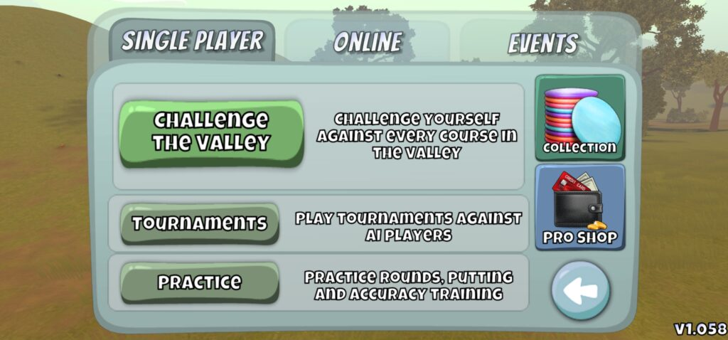 Disc Golf Valley Single player game modes