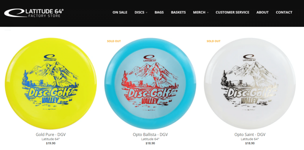 Disc Golf Valley stamped discs in Latitude 64 factory store