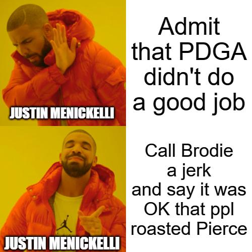 Justin Menickelli PDGA's President of the Board of Directors meme